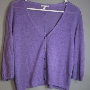 Eileen Fisher 100% Linen Lilac Crop Cardigan Small